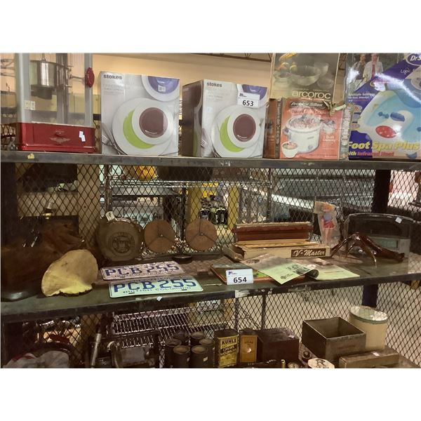 ASSORTED COLLECTABLES, LICENSE PLATES, LIVE WOOD LAMP AND MORE