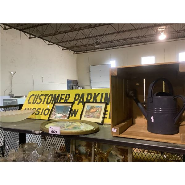 CUSTOMER PARKING SIGN, WOODEN CRATE, ASSORTED ART, GLASS LAMP SHADE