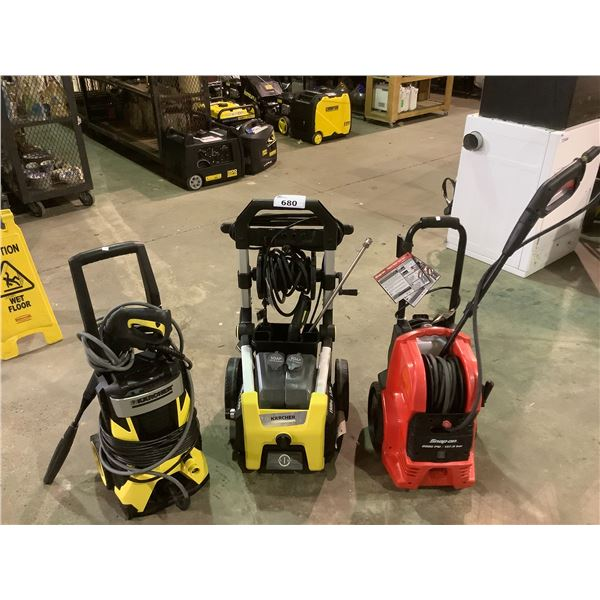 2 KARCHER PRESSURE WASHERS AND 1 SNAP ON PRESSURE WASHER MAY NEEDS PARTS AND OR REQUIRE REPAIR