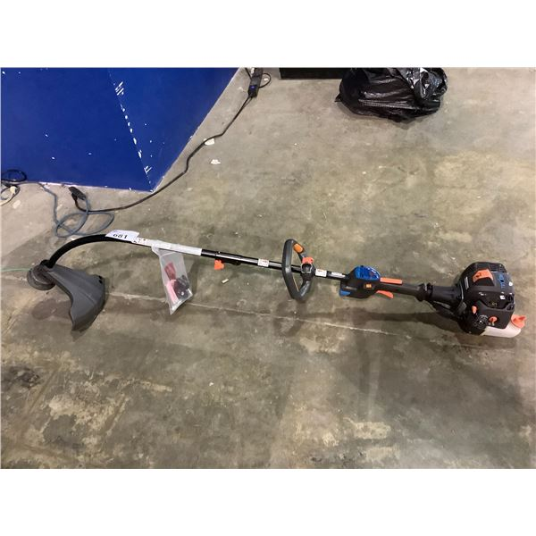 LAWNMASTER GAS POWERED ELECTRIC START WEED WACKER WITH CHARGER AND BATTERY, MAY NEED REPAIRS
