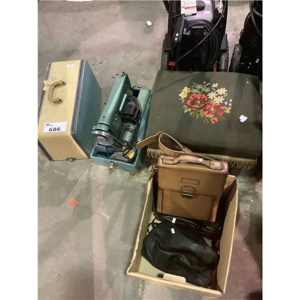 VINTAGE OTTOMAN, VINTAGE ROYAL YORK SEWING MACHINE AND 3 BAGS