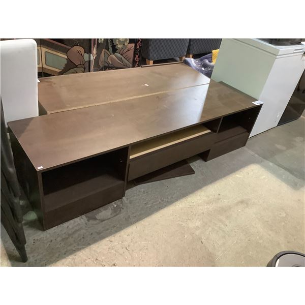 """TV STAND WITH VISIBLE DAMAGE APPROX 71.75"""" X 18"""" X 17.5"""""""