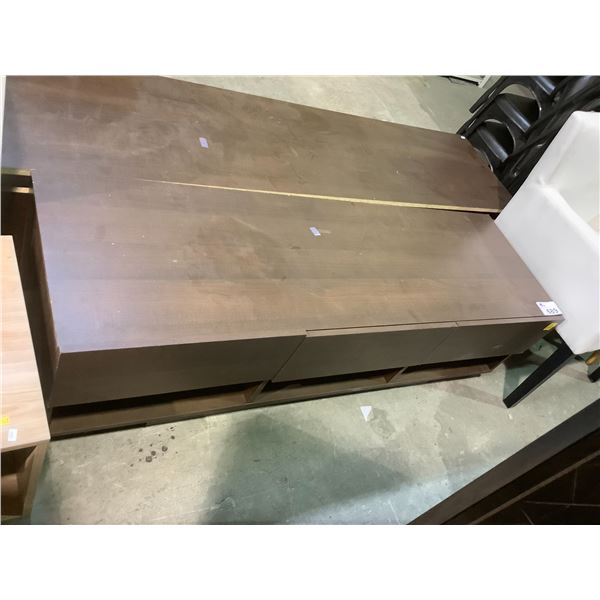 """TV STAND WITH VISIBLE DAMAGE APPROX 59.75"""" X 18.75"""" X 17.5"""""""
