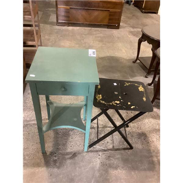 SINGLE DRAWER NIGHTSTAND AND FOLDING TV TRAY
