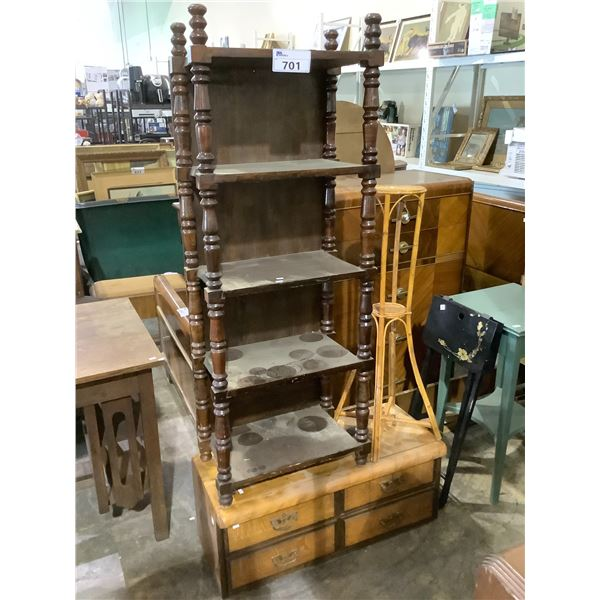 PLANT STAND, DRESSER TOPPER WITH DRAWERS AND BOOKSHELF