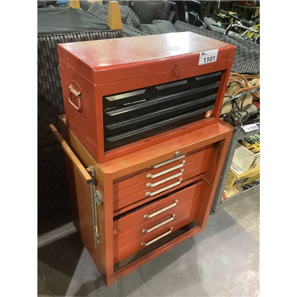 """2 PIECE RED ROLLING TOOLBOX WITH CONTENTS 27"""" X 19"""" X 48.75"""""""