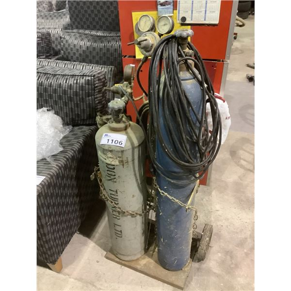 DOLLY WITH OXY/ACETYLENE TANKS WITH HOSE AND CUTTING TORCH