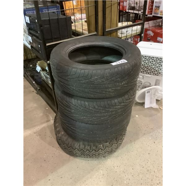 4 ASSORTED TIRES, 1 ON RIMS