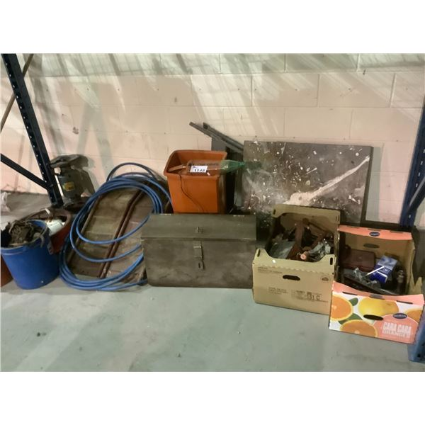 ASSORTED CHAINS, PULLEYS, GRINDERS, RAMP AND MORE