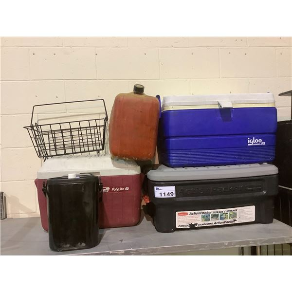 ASSORTED COOLERS, GAS CANISTER AND WIRE BASKET