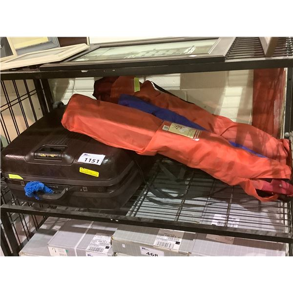ROLLING SUITCASE AND 3 CAMPING CHAIRS