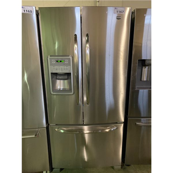 MAYTAG STAINLESS STEEL FRENCH DOOR FRIDGE WITH ICE AND WATER MODEL# MFI2269VEM7