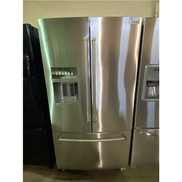 KITCHENAID STAINLESS STEEL FRENCH DOOR FRIDGE WITH ICE AND WATER MODEL# UNKNOWN
