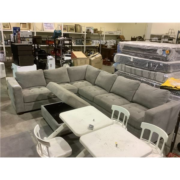 SECTIONAL SOFA WITH STORAGE OTTOMAN USB CHARGING FEATURE (NO CORDS) VISIBLE DAMAGE