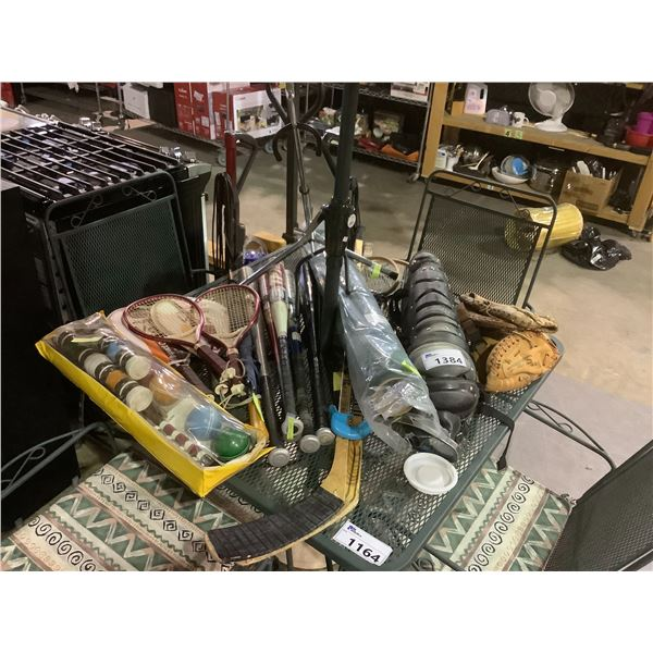 ASSORTED SPORTS GEAR AND INSTRUMENT STAND
