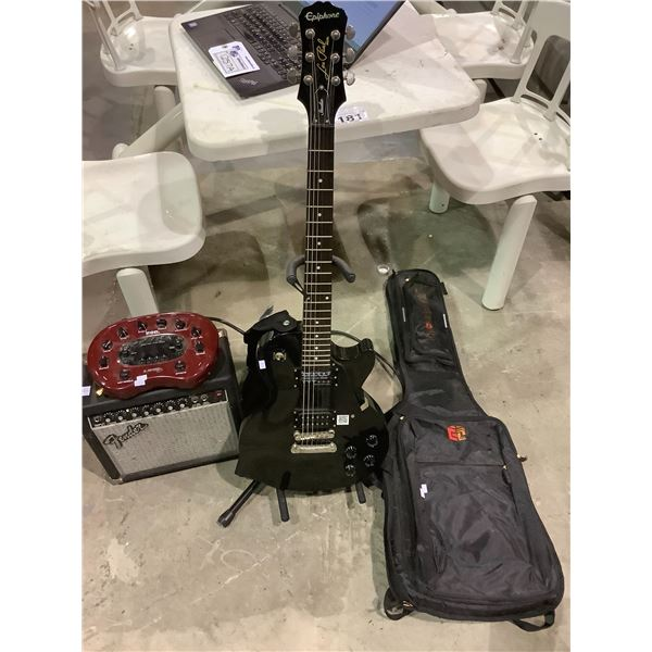 EPIPHONE LES PAUL GUITAR WITH STAND, SOFT CASE, FENDER AMP AND POD XT LINE 6