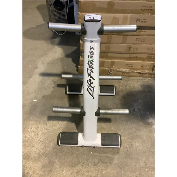 LIFE FITNESS WEIGHT RACK.
