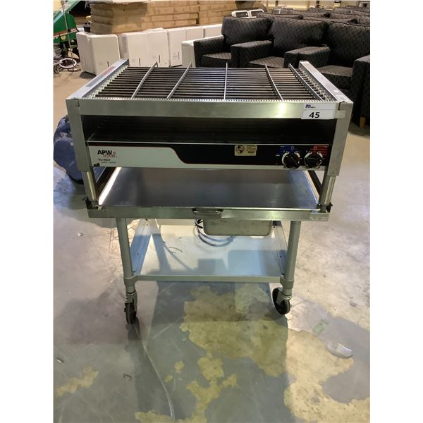 APW WYOFF TRU-HEAT ROLLER SYSTEM (HOT DOGS, TAQUITOS, ETC) ON ROLLING CART