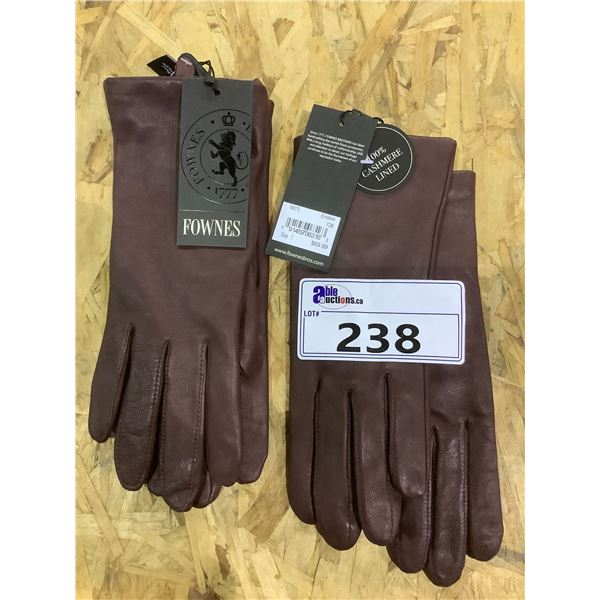 2 NEW WITH TAGS FOWNES LEATHER CASHMERE LINED DRIVING GLOVES RETAIL $69.99 EACH