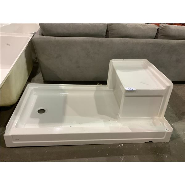 """SHOWER BASE APPROX 60.25"""" X 30.5"""" WITH VISIBLE DAMAGE"""