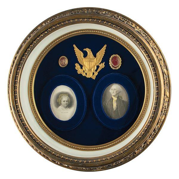 George Washington and Martha Washington Hair Display