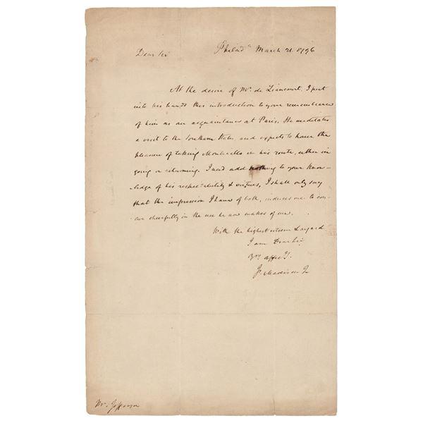 James Madison Autograph Letter Signed to Thomas Jefferson