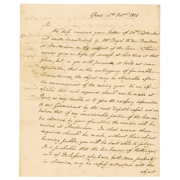 John Quincy Adams and Albert Gallatin Letter Signed with Loan Document Archive