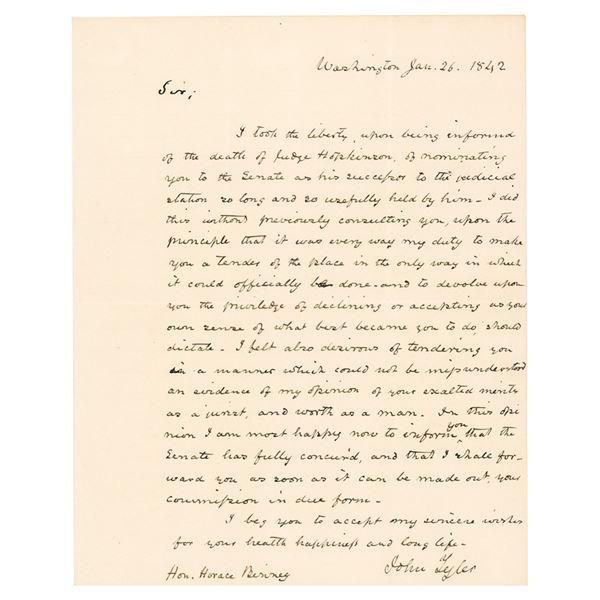 John Tyler Autograph Letter Signed as President