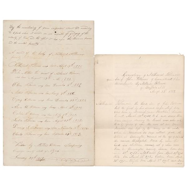 Millard Fillmore (2) Autograph Manuscripts on His Father's Genealogy with (5) Total Signatures