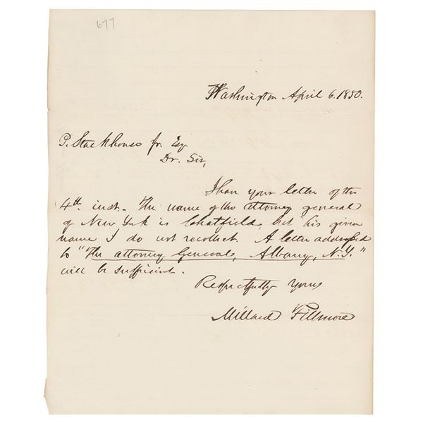 Millard Fillmore Autograph Letter Signed as Vice President
