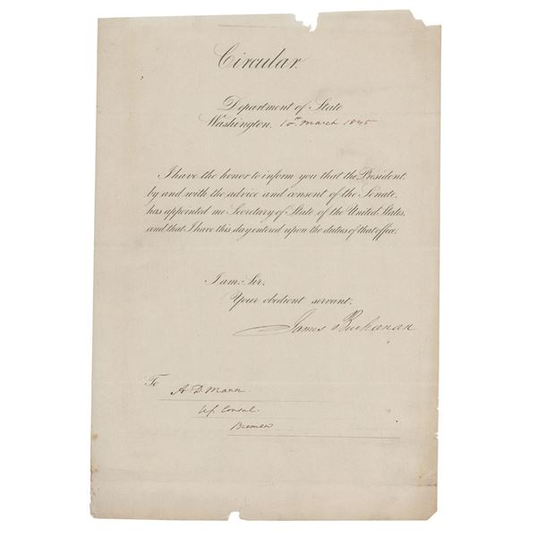 James Buchanan Circular Letter Signed