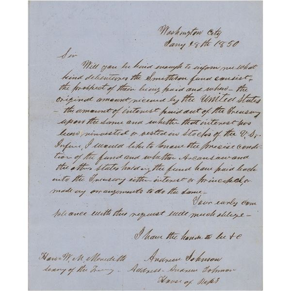 Andrew Johnson Autograph Letter Signed