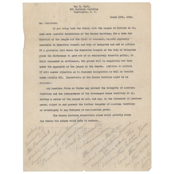 William H. Taft Correspondence Lot to Woodrow Wilson: (2) Typed Letters with Handwritten Notes and a