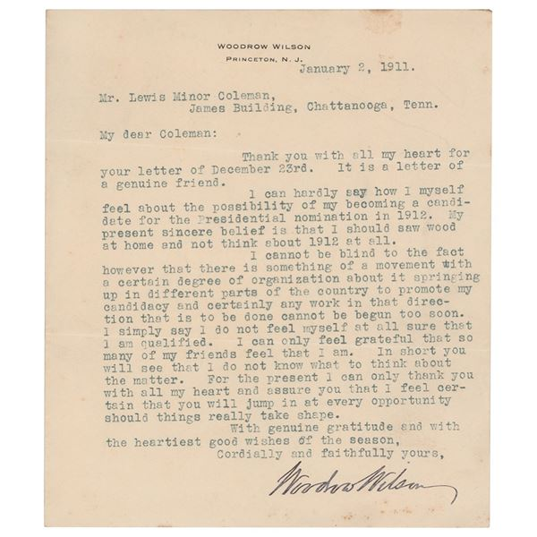 Woodrow Wilson Typed Letter Signed