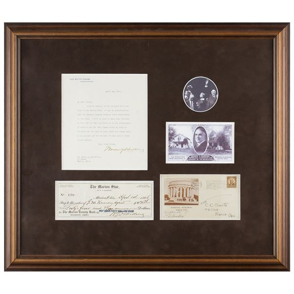 Warren G. Harding Typed Letter Signed as President and Signed Check
