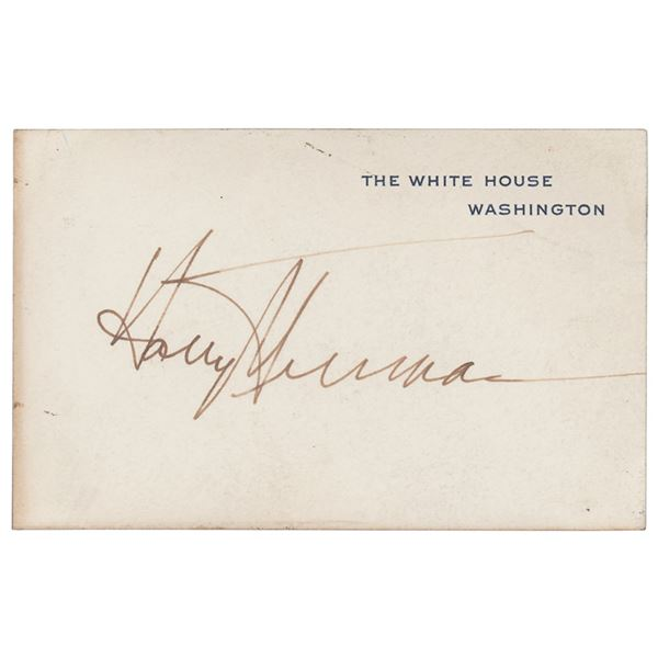 Harry S. Truman Signed White House Card