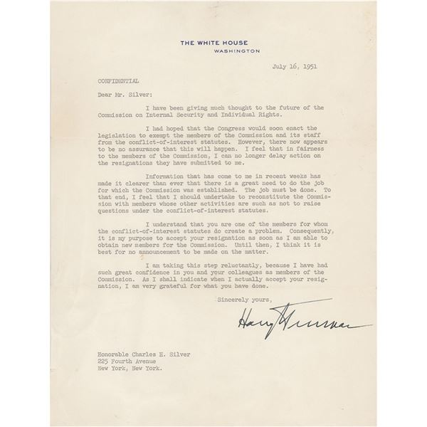 Harry S. Truman Typed Letter Signed as President