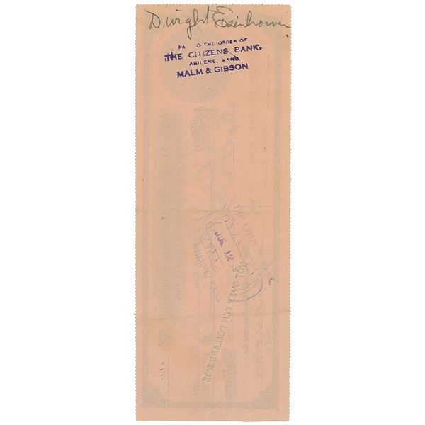 Dwight D. Eisenhower Signed Check