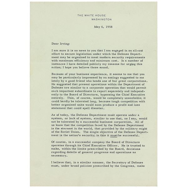 Dwight D. Eisenhower Typed Letter Signed as President