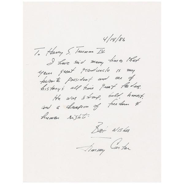 Jimmy Carter Autograph Letter Signed