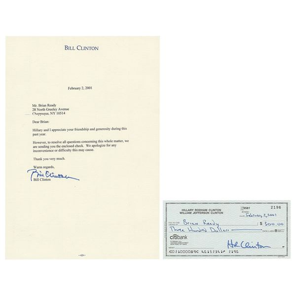 Bill and Hillary Clinton Signed Check and Typed Letter Signed