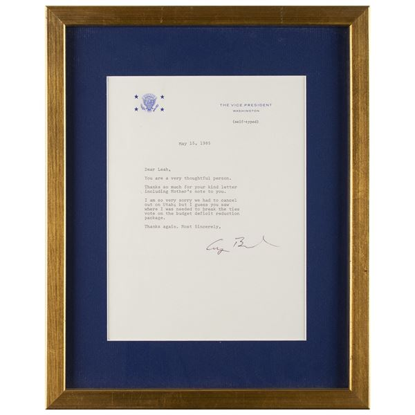 George Bush Typed Letter Signed as Vice President