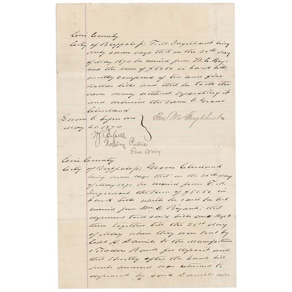 Grover Cleveland Autograph Document Signed