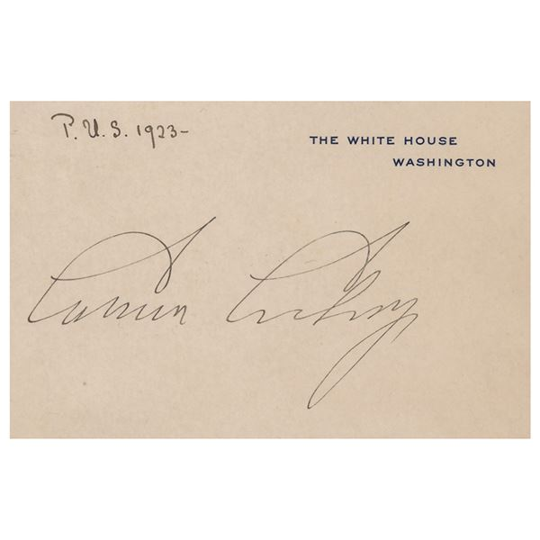 Calvin Coolidge Signed White House Card