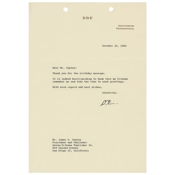 Dwight D. Eisenhower Typed Letter Signed
