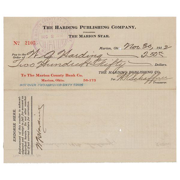 Warren G. Harding Document Signed