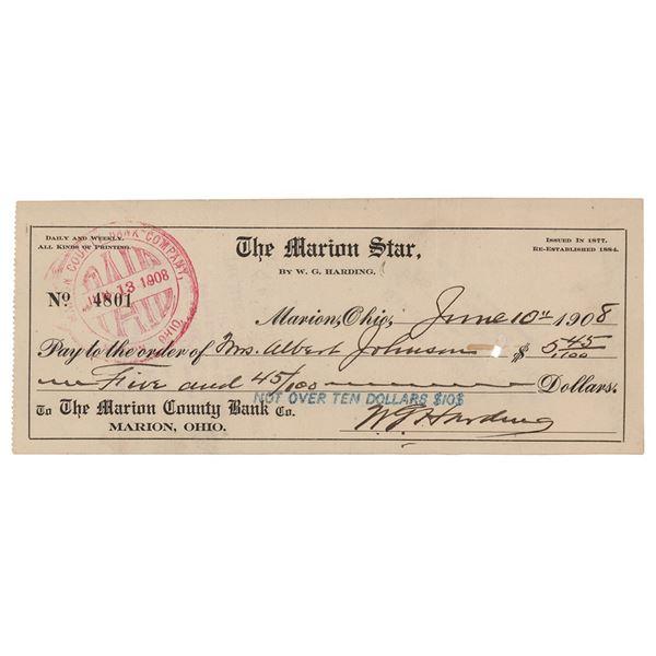 Warren G. Harding Signed Check