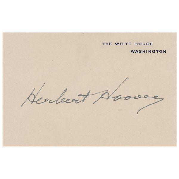 Herbert Hoover Signed White House Card