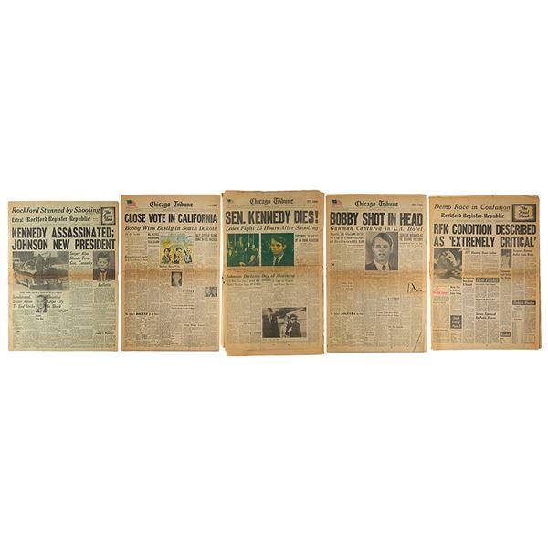 John and Robert Kennedy Assassination (5) Newspapers