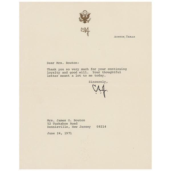 Lyndon B. Johnson Typed Letter Signed